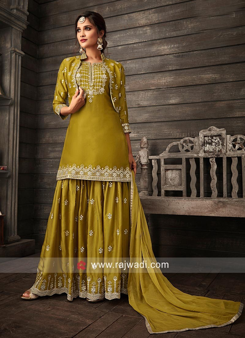 Festive wear Gharara Suit in Olive