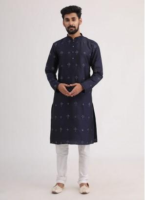 Festive Wear Kurta Pajama In Navy Blue