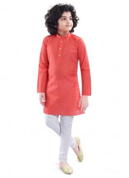 Festive Wear Dark Peach Color Kurta Pajama