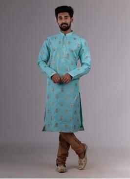 Festive Wear Zari Printed Kurta Pajama