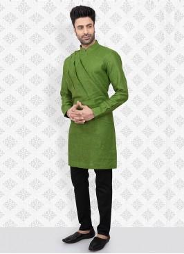 Kurta Pajama In Green And Black