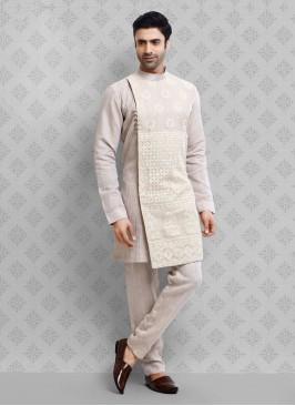 Thread Work Kurta Pajama In Cream Color