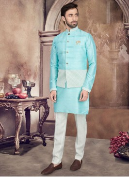 Nehru Jacket Suit In Firozi And White Color