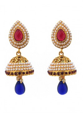 Filigree Blue Drop Jhumki Earrings