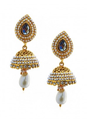 Filigree Pearl Golden Jhumki Earrings