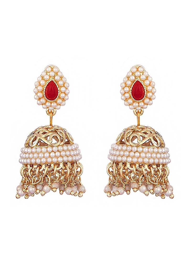 Filigree Pearl Jhumki Earrings