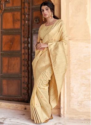 Fine Banarasi Silk Weaving Cream Designer Traditional Saree