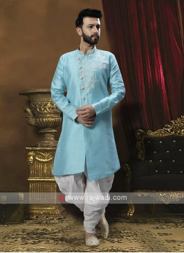 Firozi Blue And White Patiala Suit