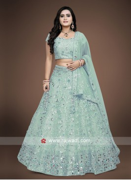 Firozi choli suit with matching dupatta