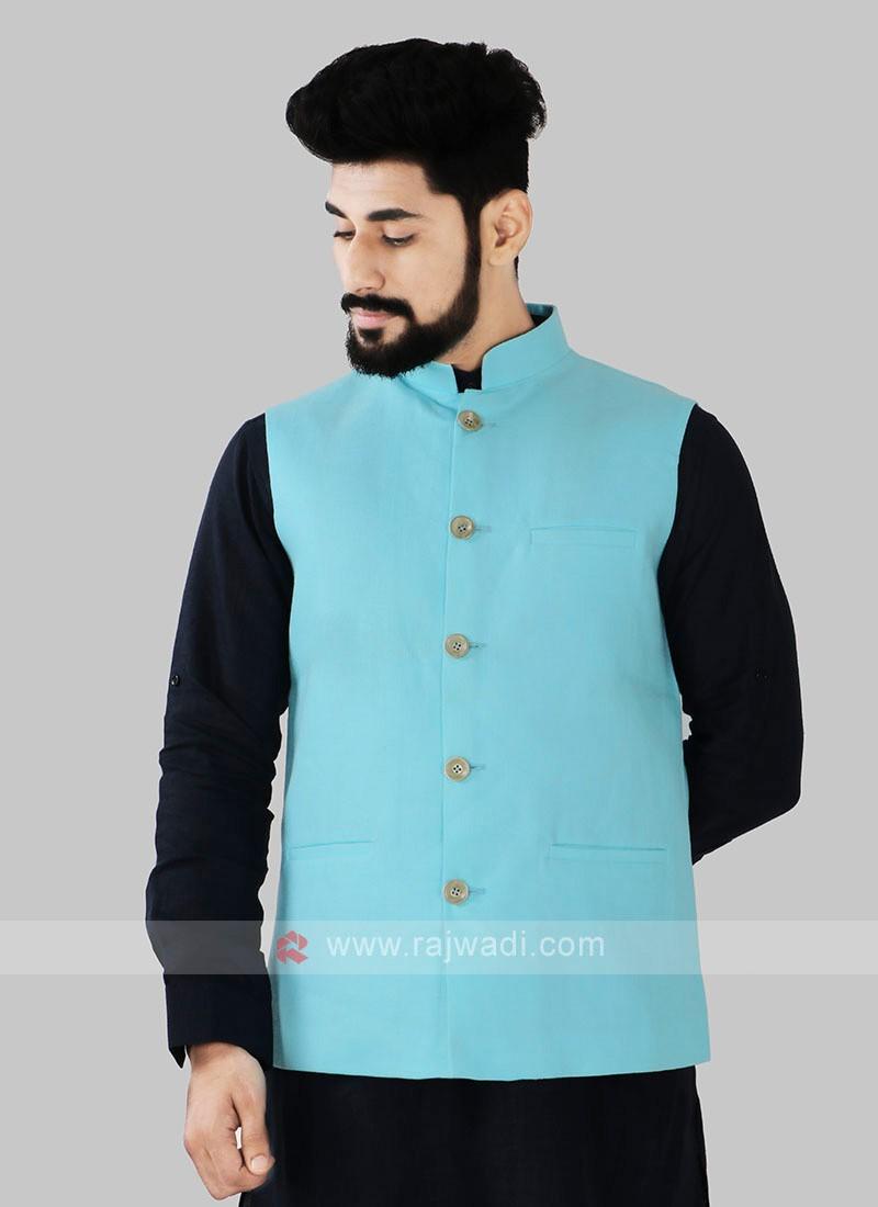 Firozi Color Nehru Jacket For Men