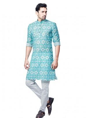 Firozi Color Printed Kurta Pajama
