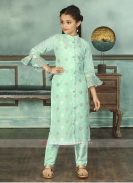 Firozi Color Suit With Trouser