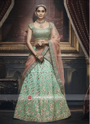 Firozi Lehenga Choli with Peach Dupatta