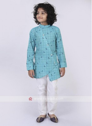 Firozi & White Kurta Pajama For Boys