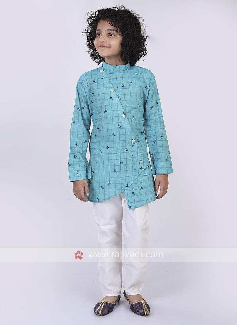 Firozi & White Kurta Pajama For Boys