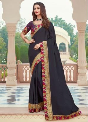 Flamboyant Silk Patch Border Black Designer Saree
