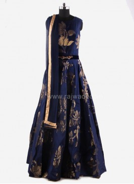 Flared Anarkali Suit in Blue
