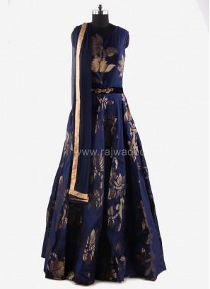 Flared Anarkali Suit in Blue