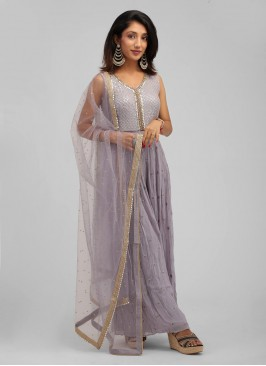 Flared Jumpsuit Lilac Color In Chiffon