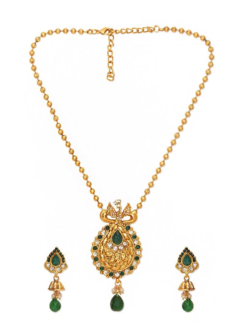 Flaunting Peacock Emerald Pendant Set