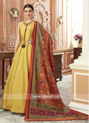Floor Length Anarkali Dress in Golden