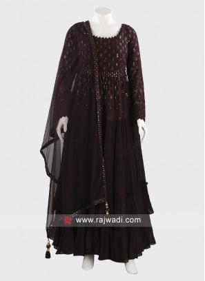 Floor Length Anarkali Dress in Magenta