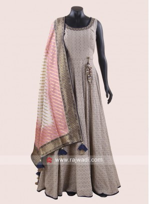 Floor Length Anarkali Dress with Dupatta