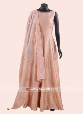 Floor Length Anarkali in Peach