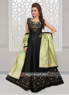 Floor Length Anarkali Suit in Black
