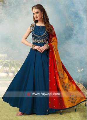 Floor Length Anarkali Suit in Dark Teal