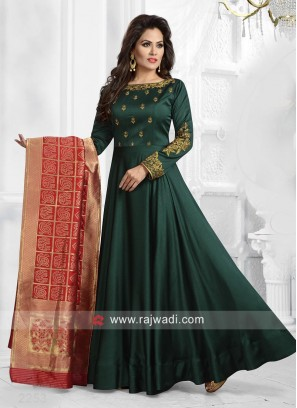 Floor Length Anarkali Suit in Bottle Green