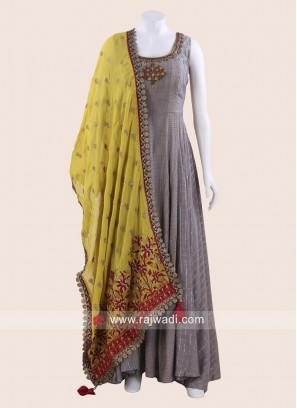 Floor Length Anarkali Suit in Grey