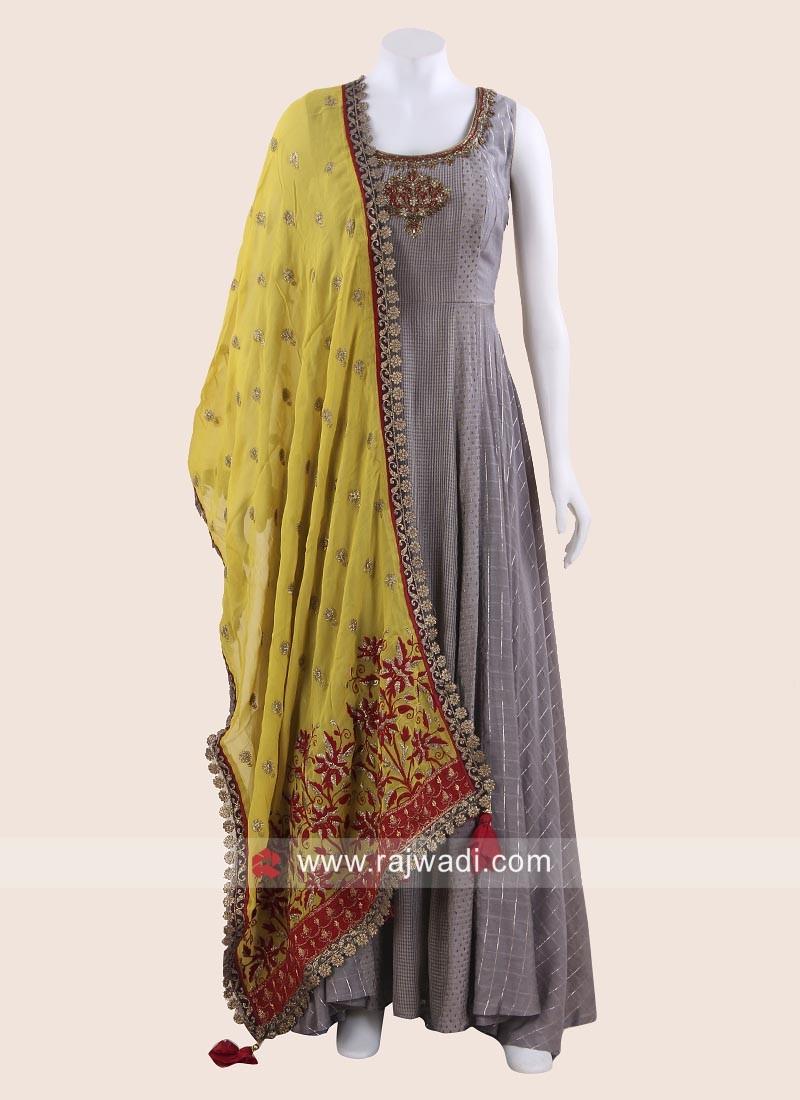 Floor Length Anarkali Suit in Grey