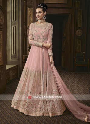 Floor Length Anarkali Suit in Light Pink