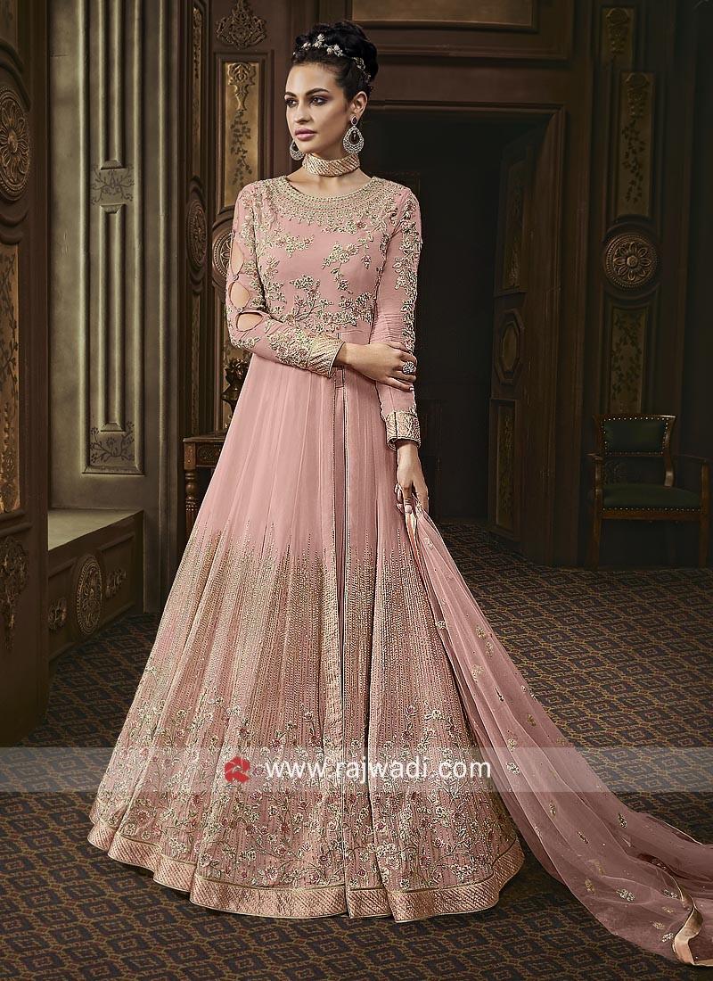 Floor Length Anarkali Suit in Light Pink