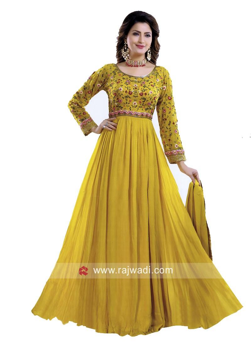 Floor Length Anarkali Suit in Mustard Yellow