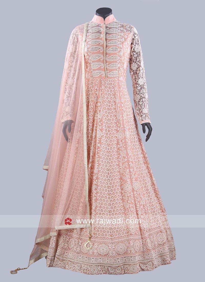 Floor Length Anarkali Suit in Peach