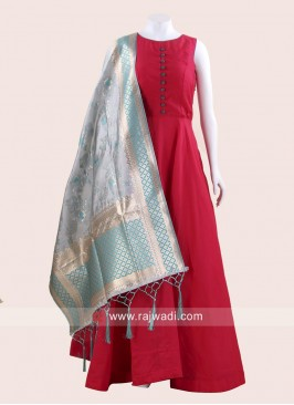 Floor Length Anarkali Suit in Red