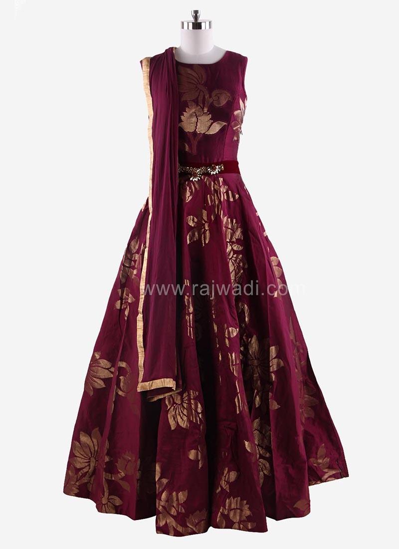 Floor Length Anarkali Suit with Fancy Broach