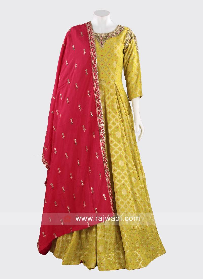 Floor Length Chiffon Anarkali Suit