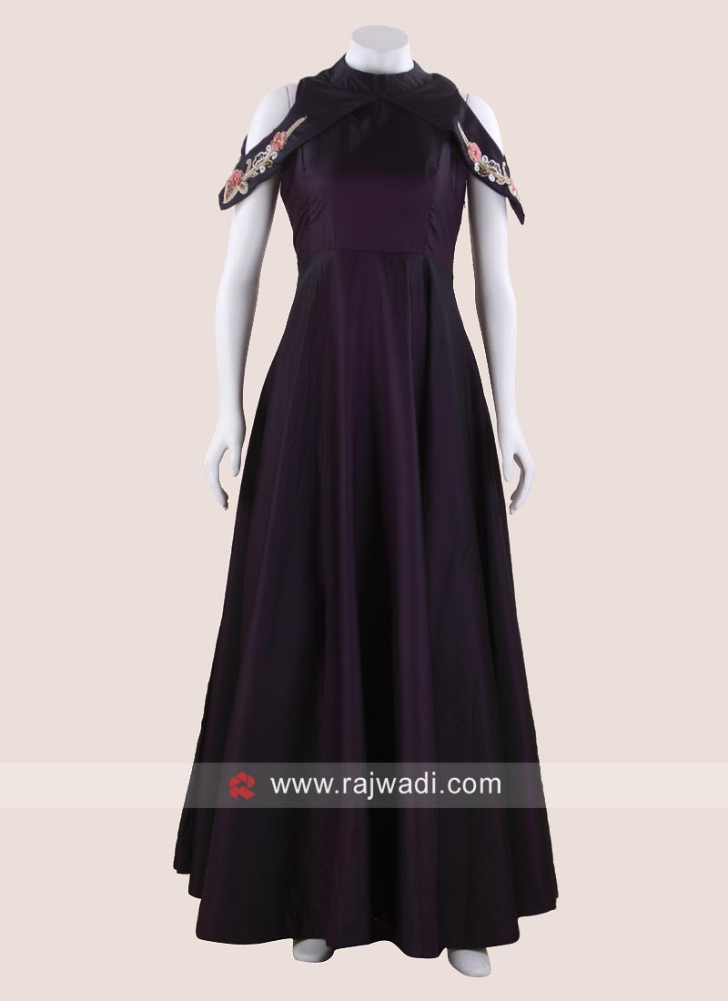 Floor Length Cold Shoulder Party Gown