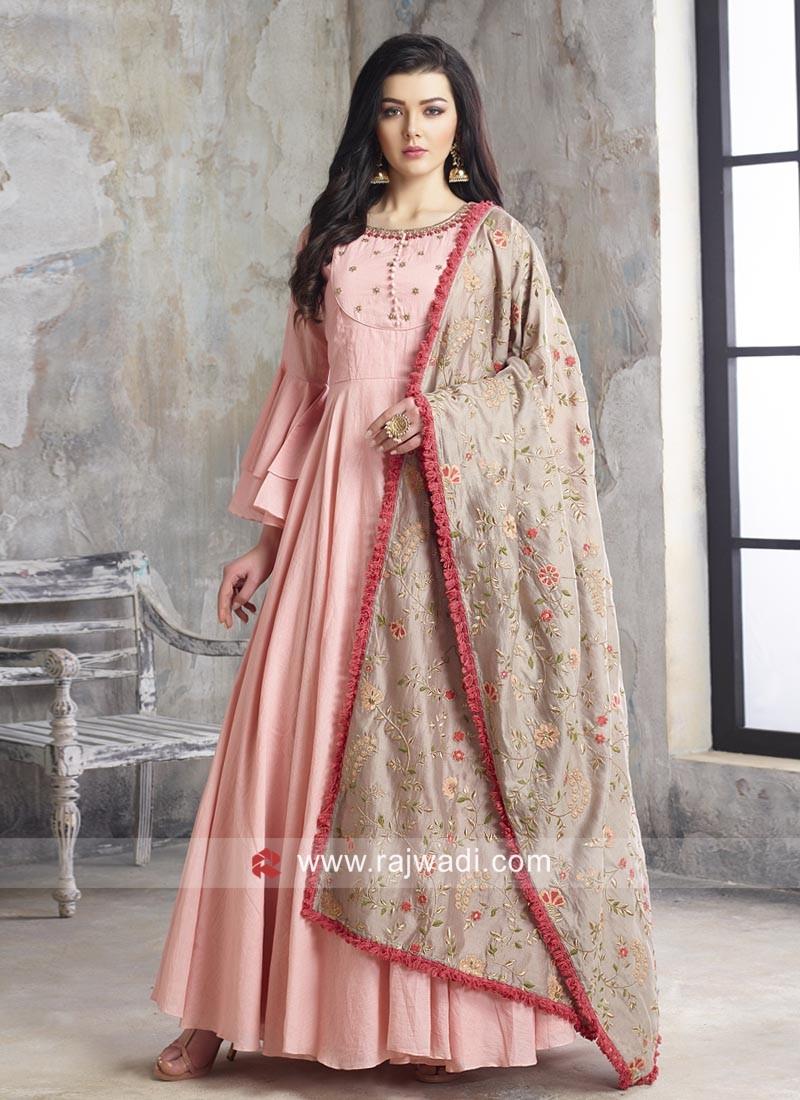 Floor Length Cotton Anarkali Suit in Pink