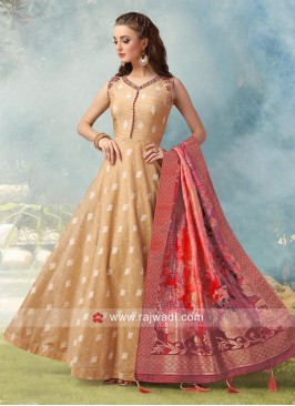 Floor Length Cotton Silk Anarkali Dress