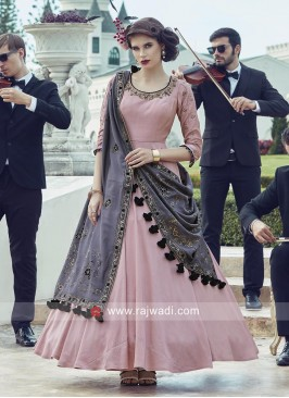 Floor Length Crepe Silk Anarkali Salwar Kameez