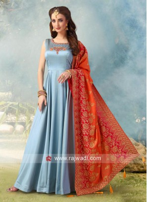 Floor Length Crepe Silk Anarkali Suit