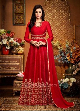 Floor Length Designer Dress Material in Red