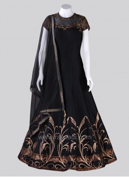 Floor Length Embroidered  Anarkali Dress in Black