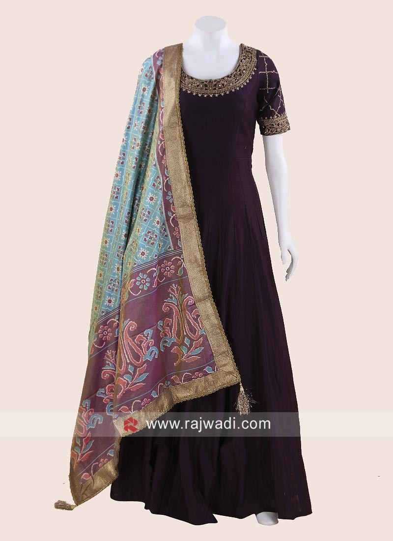 Floor Length Embroidered Anarkali Suit