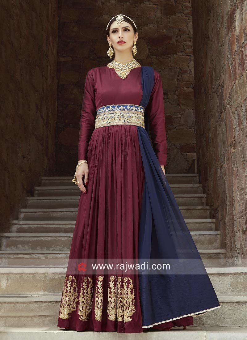 Floor Length Embroidered Gown with Dupatta
