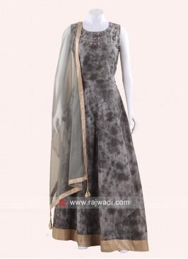 Floor Length Embroidery Neckline Anarkali Suit
